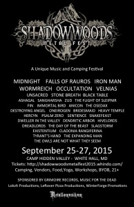 Join the Facebook Page: https://www.facebook.com/shadowwoodsmetalfest